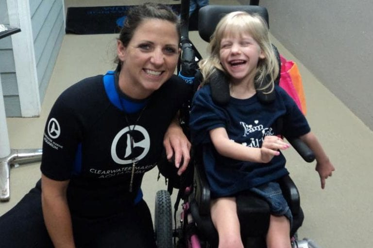 Cassidy-Rae an inspirational little girl visiting Clearwater Marine Aquarium