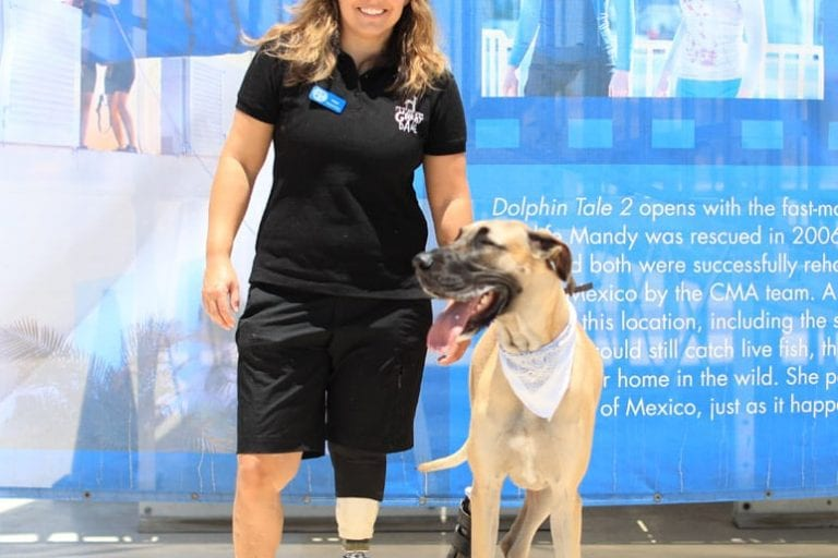 Maja and her dog, Rosie with prostheticlegs