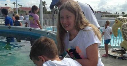 Claire Logue visiting Clearwater Marine Aquarium