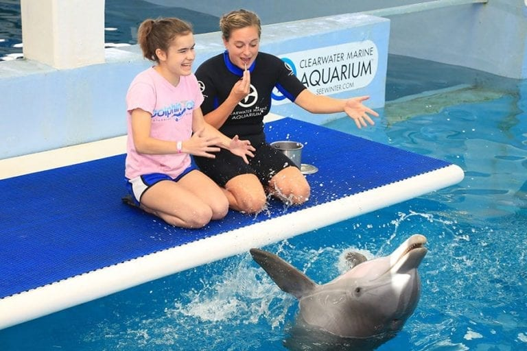 Meghan and trainer with dolphin