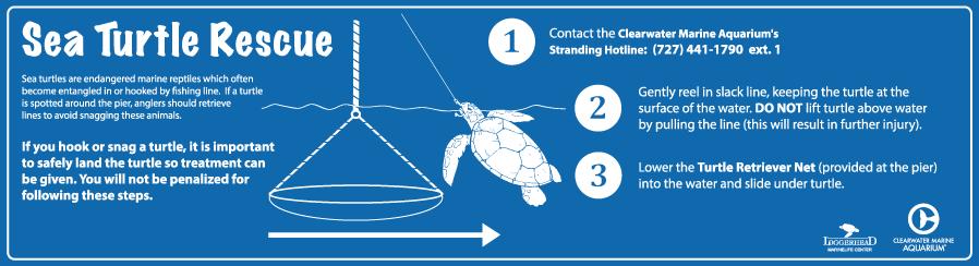 sea turtle rescue pier sign