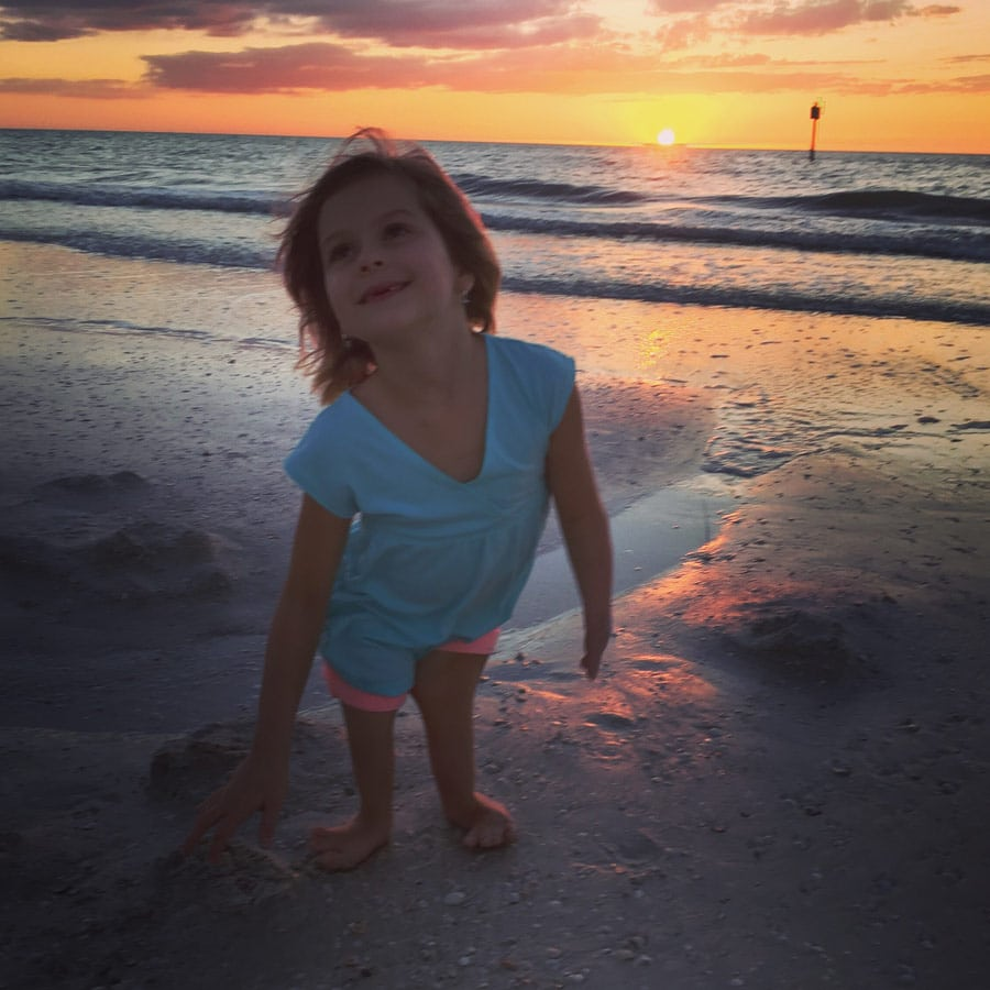 layla on the beach during sunset