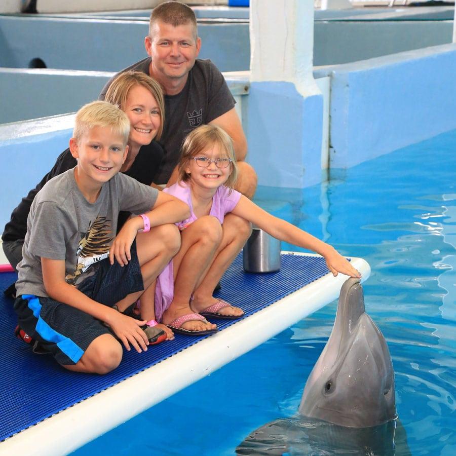 family posing for dolphin photo
