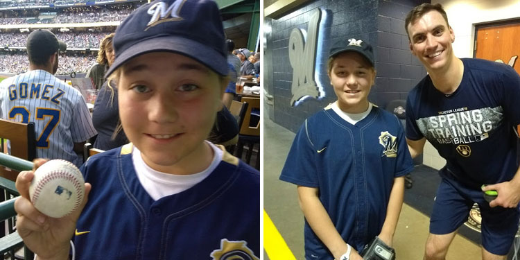 Jordan with baseball from Milwaukee Brewers