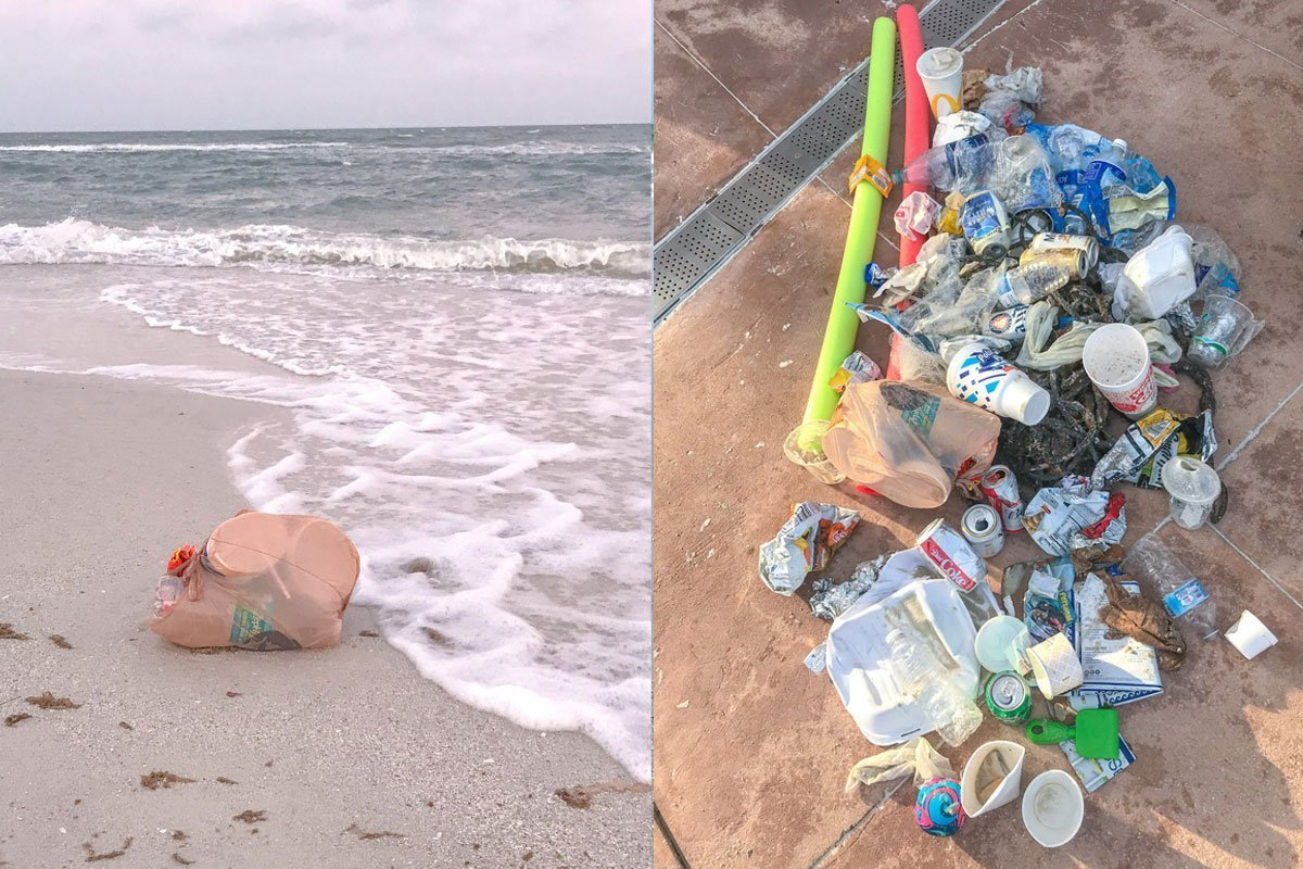 trash and debris collected from the beach