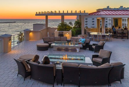 Hampton Inn Suites patio with gulf sunset view