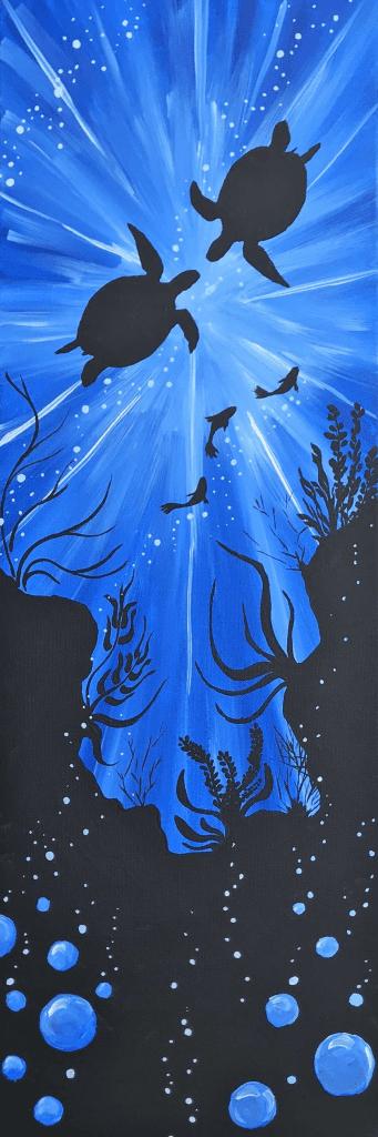 painting of two underwater sea turtles