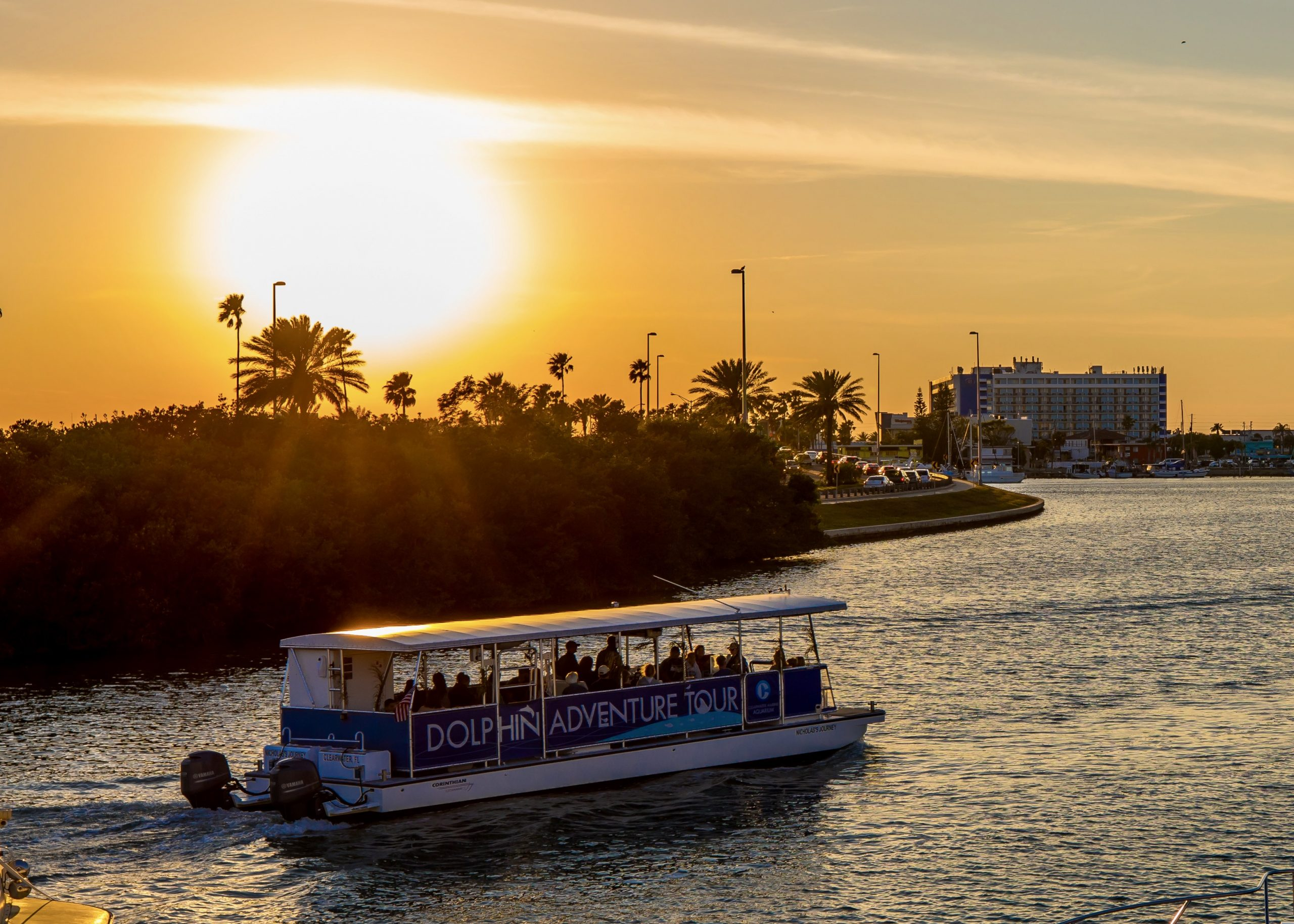 boat tour during sunset