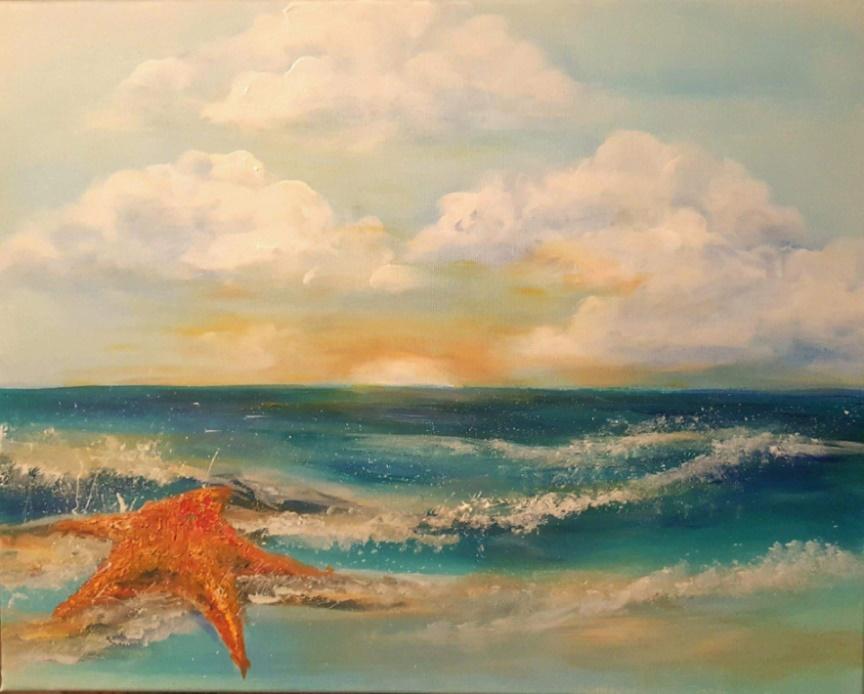 starfish on beach painting